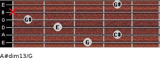 A#dim13/G for guitar on frets 3, 4, 2, 1, x, 4