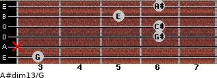 A#dim13/G for guitar on frets 3, x, 6, 6, 5, 6