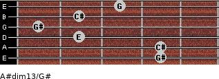 A#dim13/G# for guitar on frets 4, 4, 2, 1, 2, 3