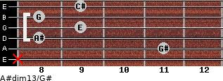 A#dim13/G# for guitar on frets x, 11, 8, 9, 8, 9