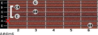 A#dim6 for guitar on frets 6, x, 2, 3, 2, 3