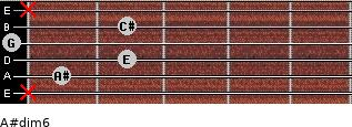 A#dim/6 for guitar on frets x, 1, 2, 0, 2, x