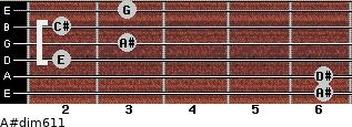 A#dim6/11 for guitar on frets 6, 6, 2, 3, 2, 3