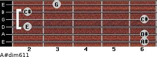 A#dim6/11 for guitar on frets 6, 6, 2, 6, 2, 3