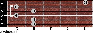 A#dim6/11 for guitar on frets 6, 6, 5, 6, 5, 9