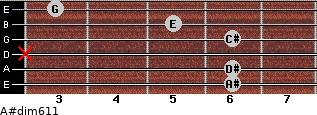 A#dim6/11 for guitar on frets 6, 6, x, 6, 5, 3