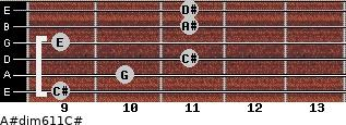 A#dim6/11/C# for guitar on frets 9, 10, 11, 9, 11, 11