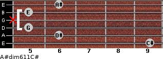 A#dim6/11/C# for guitar on frets 9, 6, 5, x, 5, 6