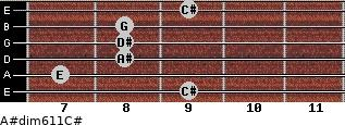 A#dim6/11/C# for guitar on frets 9, 7, 8, 8, 8, 9