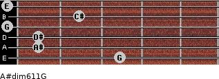 A#dim6/11/G for guitar on frets 3, 1, 1, 0, 2, 0