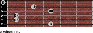 A#dim6/11/G for guitar on frets 3, 1, 1, 3, 2, 0