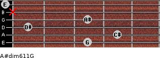 A#dim6/11/G for guitar on frets 3, 4, 1, 3, x, 0