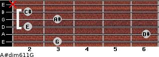 A#dim6/11/G for guitar on frets 3, 6, 2, 3, 2, x