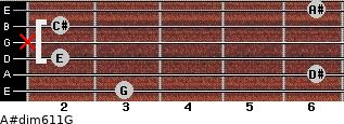 A#dim6/11/G for guitar on frets 3, 6, 2, x, 2, 6