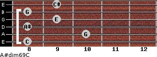 A#dim6/9/C for guitar on frets 8, 10, 8, 9, 8, 9
