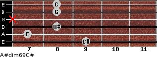 A#dim6/9/C# for guitar on frets 9, 7, 8, x, 8, 8