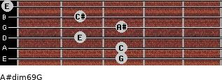 A#dim6/9/G for guitar on frets 3, 3, 2, 3, 2, 0