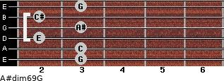A#dim6/9/G for guitar on frets 3, 3, 2, 3, 2, 3