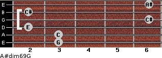 A#dim6/9/G for guitar on frets 3, 3, 2, 6, 2, 6