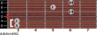 A#dim6/9/G for guitar on frets 3, 3, x, 6, 5, 6