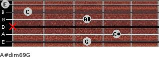A#dim6/9/G for guitar on frets 3, 4, x, 3, 1, 0