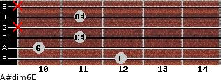 A#dim6/E for guitar on frets 12, 10, 11, x, 11, x