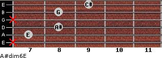 A#dim6/E for guitar on frets x, 7, 8, x, 8, 9