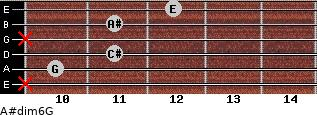 A#dim6/G for guitar on frets x, 10, 11, x, 11, 12