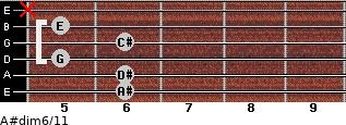 A#dim6/11 for guitar on frets 6, 6, 5, 6, 5, x