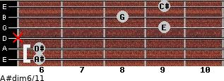 A#dim6/11 for guitar on frets 6, 6, x, 9, 8, 9