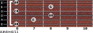 A#dim6/11 for guitar on frets 6, 7, 8, 6, 8, 6