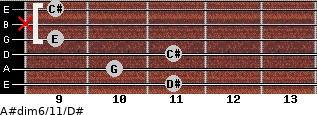 A#dim6/11/D# for guitar on frets 11, 10, 11, 9, x, 9