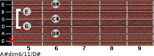 A#dim6/11/D# for guitar on frets x, 6, 5, 6, 5, 6
