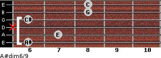 A#dim6/9 for guitar on frets 6, 7, x, 6, 8, 8