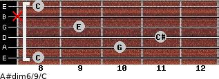 A#dim6/9/C for guitar on frets 8, 10, 11, 9, x, 8