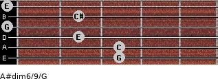 A#dim6/9/G for guitar on frets 3, 3, 2, 0, 2, 0