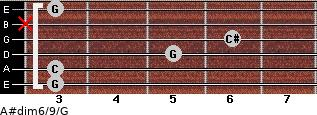 A#dim6/9/G for guitar on frets 3, 3, 5, 6, x, 3