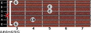 A#dim6/9/G for guitar on frets 3, 4, x, 5, 5, 3