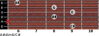 A#dim6/C# for guitar on frets 9, x, 8, 9, 8, 6