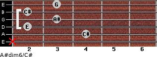 A#dim6/C# for guitar on frets x, 4, 2, 3, 2, 3