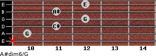 A#dim6/G for guitar on frets x, 10, 11, 12, 11, 12