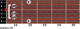 A#dim7/E for guitar on frets 12, 11, 11, x, 11, 12