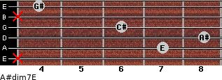 A#dim7/E for guitar on frets x, 7, 8, 6, x, 4
