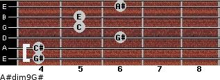 A#dim9/G# for guitar on frets 4, 4, 6, 5, 5, 6