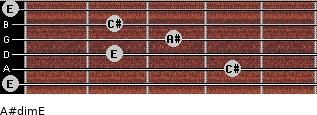 A#dim/E for guitar on frets 0, 4, 2, 3, 2, 0