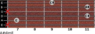 A#dim/E for guitar on frets x, 7, 11, x, 11, 9