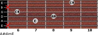 A#dim/E for guitar on frets x, 7, 8, 6, x, 9