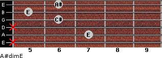 A#dim/E for guitar on frets x, 7, x, 6, 5, 6