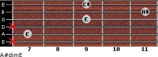 A#dim/E for guitar on frets x, 7, x, 9, 11, 9