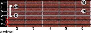 A#dim/E for guitar on frets x, x, 2, 6, 2, 6